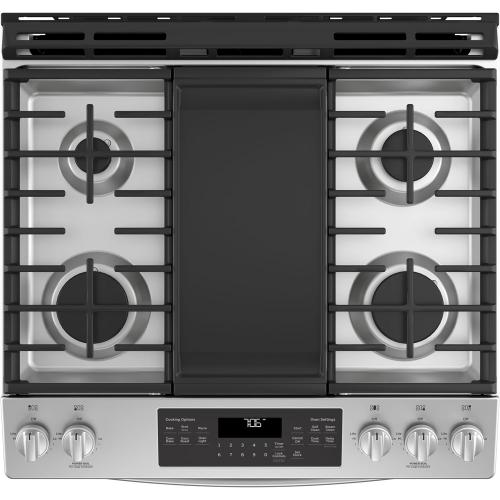 """GE 30"""" Gas Slide-In Front Control Convection Range with Storage Drawer Stainless Steel JCGS760SELSS"""
