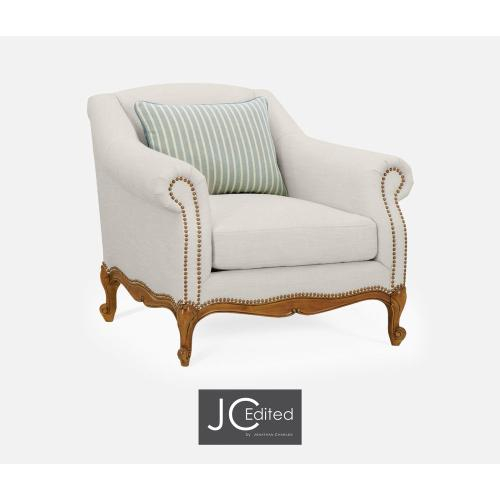 "37 1/2"" Casual Lawson Style Grey Fruitwood Sofa Chair, Upholstered in Will Linen"