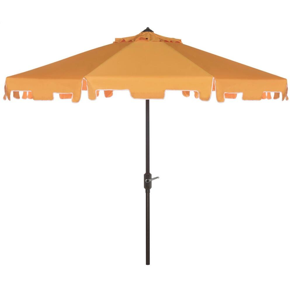 Zimmerman 9 Ft Crank Market Umbrella With Flap - Yellow / White