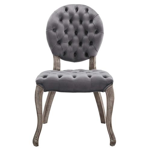 Exhibit French Vintage Dining Performance Velvet Side Chair in Gray