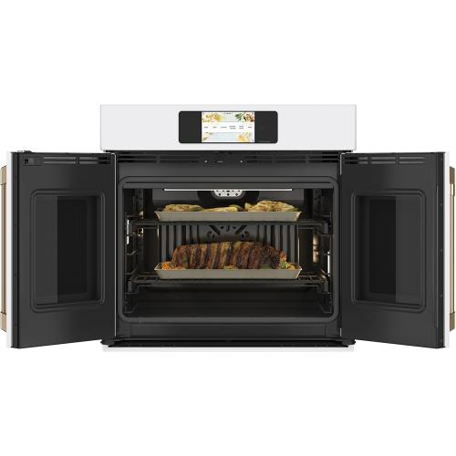 """Café 30"""" Built-In French-Door Single Convection Wall Oven Matte White"""