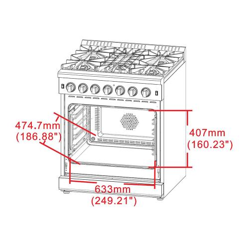 """30"""" Gas Range with 240 Volt Electric Oven Dual Fuel FORNO ALTA QUALITA Pro-Style with 5 Defendi Italian Burners 68,000 BTU All 304 Stainless Steel FFSGS6125-30"""
