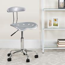 View Product - Vibrant Silver and Chrome Swivel Task Office Chair with Tractor Seat