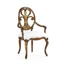 Carving Oval Back Arm Chair, Upholstered in COM by Distributor