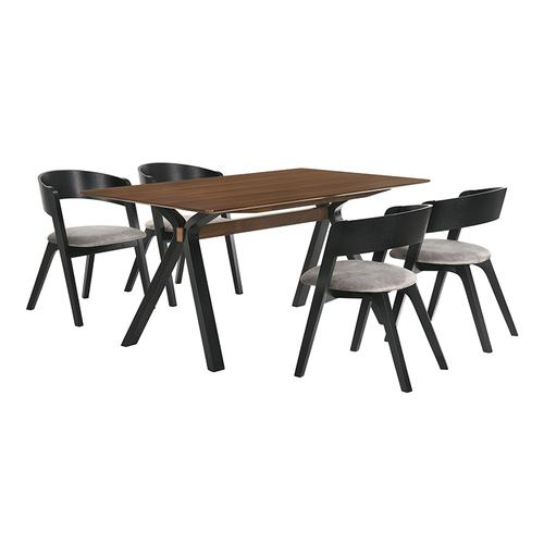 Laredo and Jackie 5 Piece Black Rectangular Dining Set