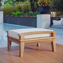 See Details - Marina Outdoor Patio Teak Ottoman in Natural White