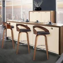 "Armen Living Sonia 30"" Bar Height Barstool in Walnut Wood Finish with Brown Faux Leather"