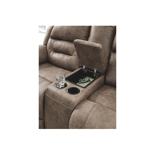 Stoneland DBL REC PWR Loveseat w/Console Fossil