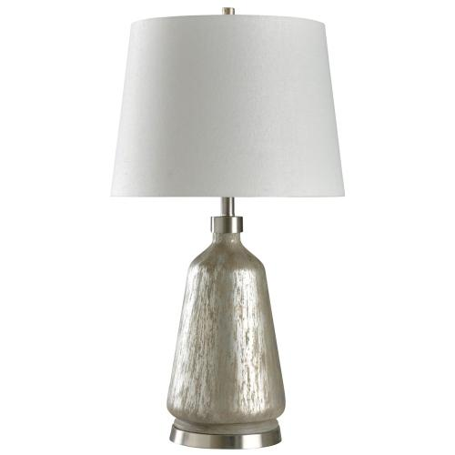 Carmel Silver  Distress Painted Body Transitional Table Lamp with Brushed Steel Metal Base  150 Wa