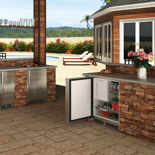 Marvel - 24-In Outdoor Built-In Refrigerator Freezer (Ice Maker Accessory Kit Available) with Door Style - Stainless Steel