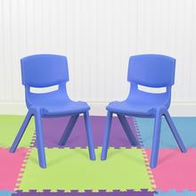 "2 Pack Blue Plastic Stackable School Chair with 12"" Seat Height"