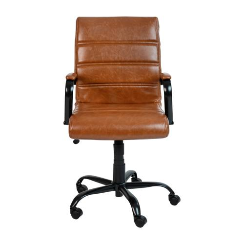 Gallery - Mid-Back Brown LeatherSoft Executive Swivel Office Chair with Black Frame and Arms