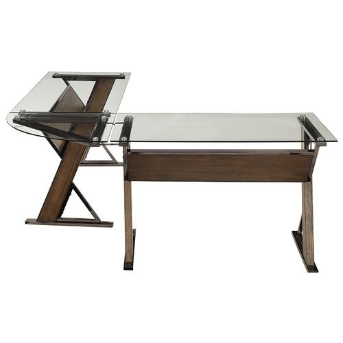 Eureka L-shap Desk With Corner and Return With Nickel Metal and Carmel Wood Finish