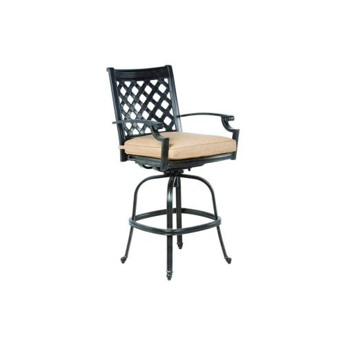 Lattice Bar Swivel Chair, w/Linen Sesame cushion