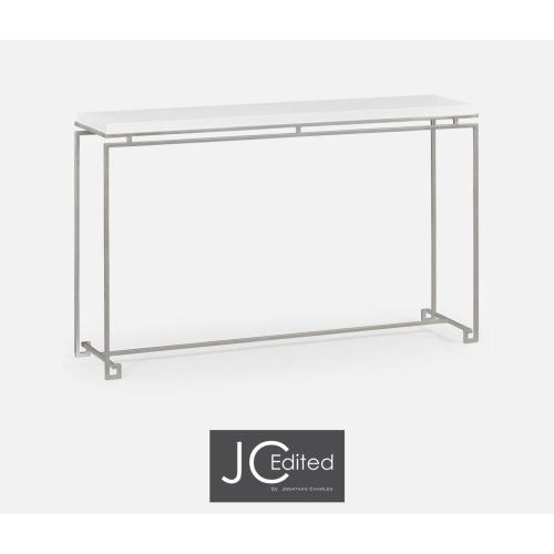 Silver iron large console table with Biancaneve top
