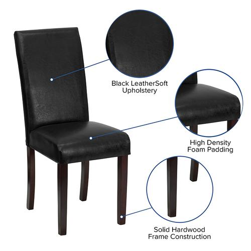 Gallery - Black LeatherSoft Parsons Chair