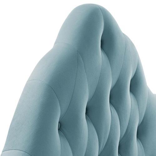 Sovereign Queen Diamond Tufted Performance Velvet Headboard in Light Blue