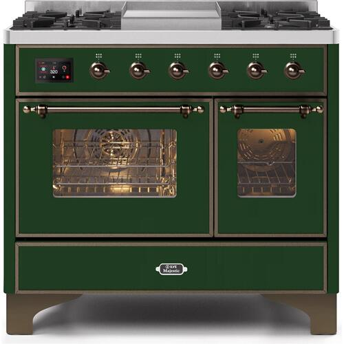 Majestic II 40 Inch Dual Fuel Natural Gas Freestanding Range in Emerald Green with Bronze Trim