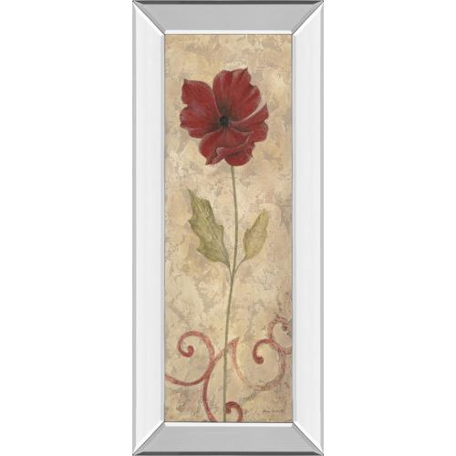 "Classy Art - ""Red Flower II"" Mirrored Framed Print Wall Art"