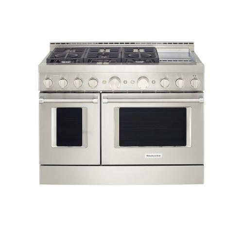 KitchenAid® 48'' Smart Commercial-Style Gas Range with Griddle - Heritage Stainless Steel