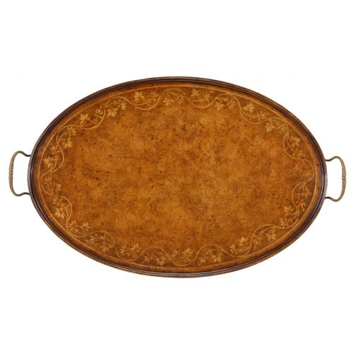 Oval Burl Walnut Tray with Floral Inlay