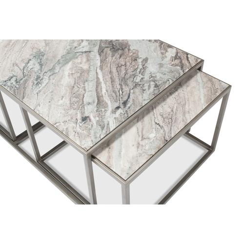 Set Of 3 Nesting Low Tables, Marble Tops