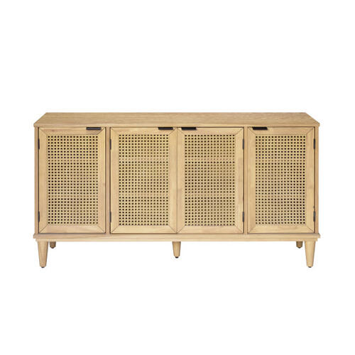 Four Door Cane Console Table