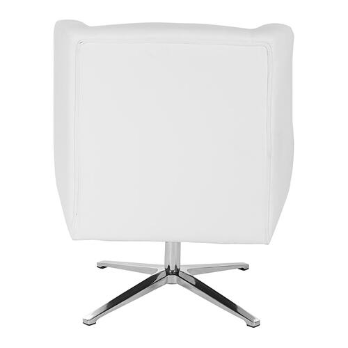 Faux Leather Guest Chair In White Faux Leather and Aluminum Base