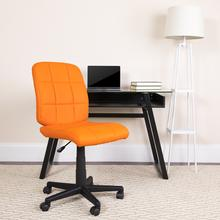 View Product - Mid-Back Orange Quilted Vinyl Swivel Task Office Chair