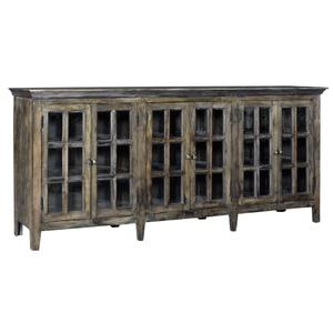 CRESTVIEW COLLECTIONSBengal Manor Acacia Wood Large 6 Door Window Pane Sideboard