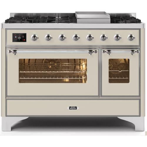 Majestic II 48 Inch Dual Fuel Natural Gas Freestanding Range in Antique White with Chrome Trim