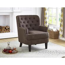 BROWN ACCENT CHAIR WITH NAILHEAD