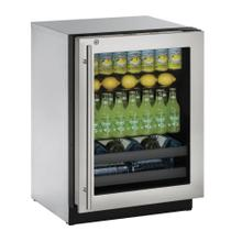 """See Details - 24"""" Beverage Center Stainless Frame (Lock) Right-Hand Hinge"""