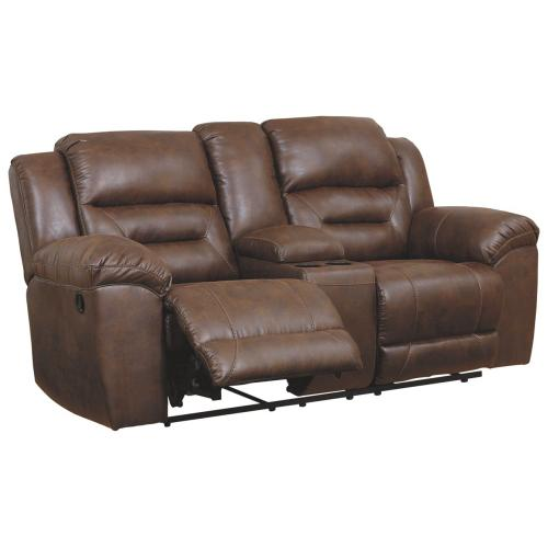 Stoneland DBL Rec Loveseat w/Console Chocolate