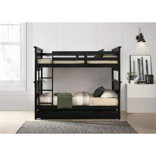 Calloway Twin over Twin Bunk Bed with Trundle in Antique Black