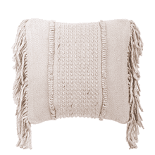 See Details - Natural Stitched Pillow with Fringe