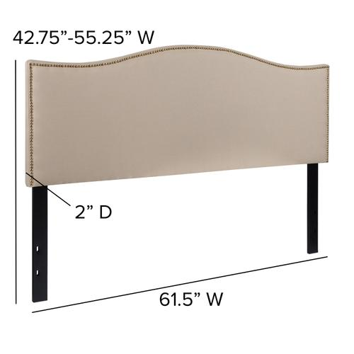 Flash Furniture - Lexington Upholstered Queen Size Headboard with Accent Nail Trim in Beige Fabric