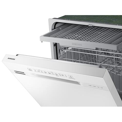 Front Control 51 dBA Dishwasher with Hybrid Interior in White