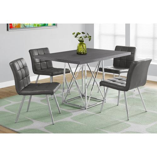 """DINING CHAIR - 2PCS / 32""""H / GREY LEATHER-LOOK / CHROME"""