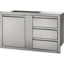 "42"" x 24"" Large Single Door & Triple Drawer Triple Drawer , Stainless Steel"