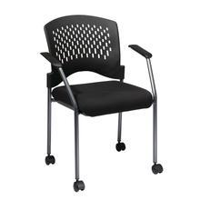Titanium Finish Rolling Black Visitors Chair