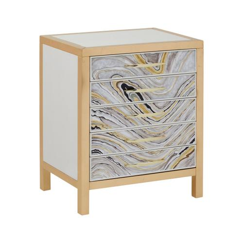Modern Handpainted Accent Chest in White & Gold Swirl