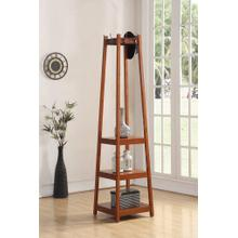 Vassen Coat Rack w/ 3-Tier Storage Shelves in Walnut Finish