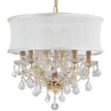 Brentwood 6 Light Crystal Gold Drum Shade Chandelier