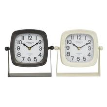 "METAL TABLE CLOCK, 2/ASST 8""W, 7.75""H"