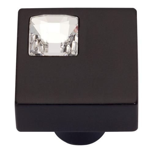 Atlas Homewares - Crystal Off Center Square Knob 1 Inch - Matte Black