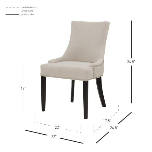 Charlotte Fabric Dining Side Chair, Cotton Cream