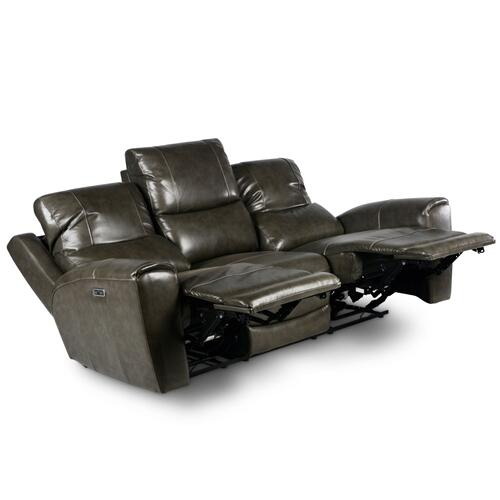 Laurel Leather Dual-Power Reclining Sofa, Grey