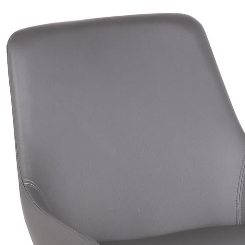 Armen Living Mia Contemporary Dining Chair in Gray Faux Leather with Black Powder Coated Metal Legs