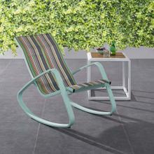 Traveler Rocking Outdoor Patio Mesh Sling Lounge Chair in Green Stripe